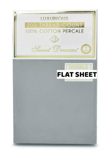 Hotel Quality Luxury 200 Thread Count 100% Pure Cotton Percale Flat Sheet, Grey